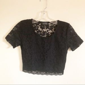 3/30 Topshop | Black Lace Crop Top Night Out